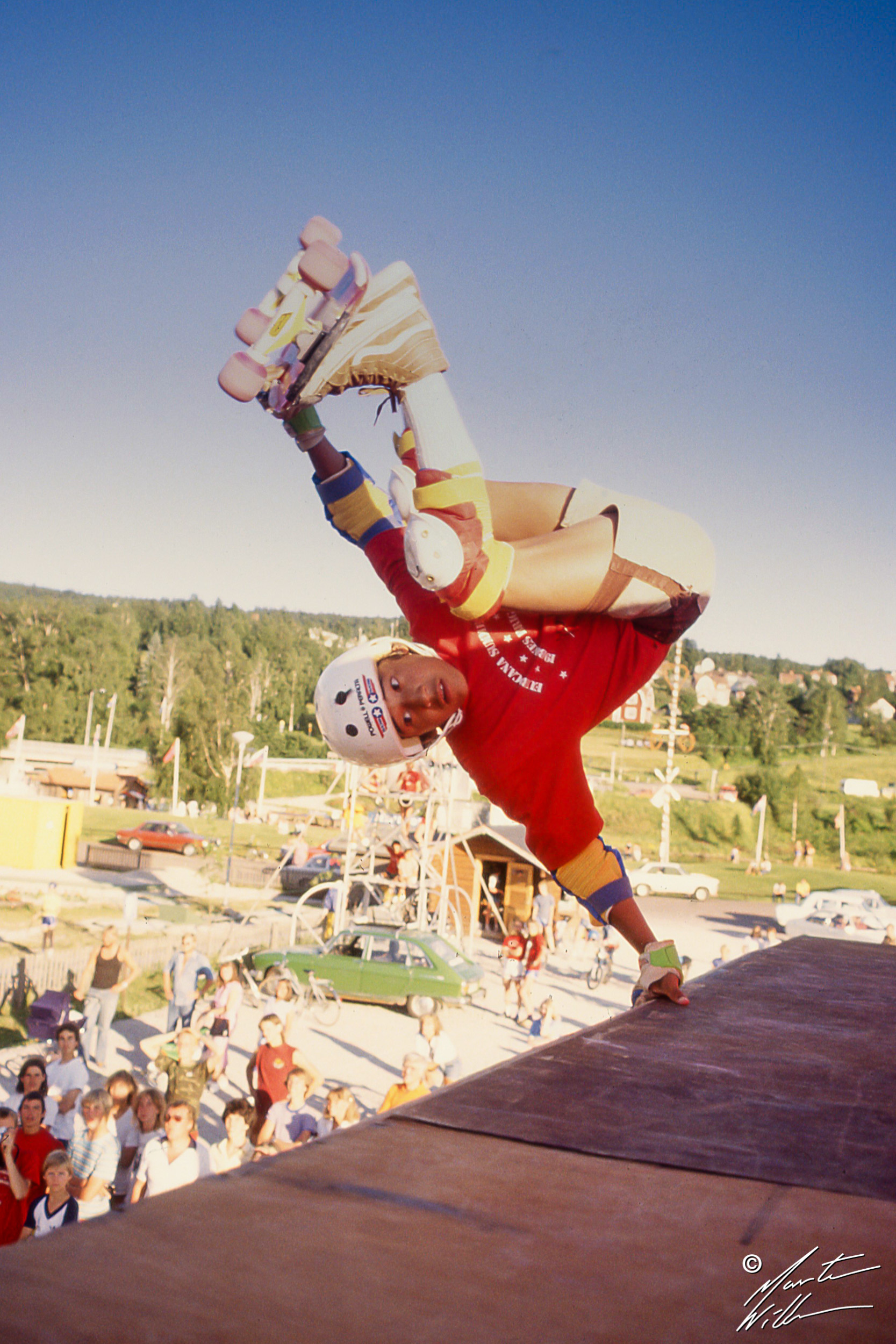Steve Caballero, Frontside handplant,   Eurocana Summer Camp, Rättvik 1981